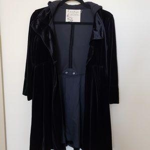 FREE PEOPLE Black Velvet Hooded Jacket